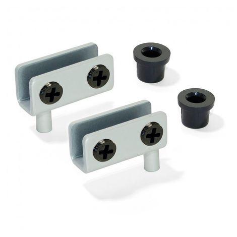 Emuca Juego de bisagras interiores para puerta de cristal, 4-6 mm espesor, Acero, Gris metalizado