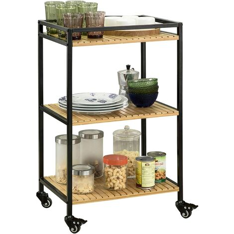 SoBuy 3 Tiers Metal Bamboo Drinks Serving Trolley Kitchen Shelf FKW65-N