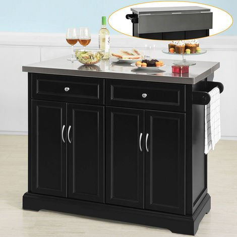SoBuy Extendable Kitchen Trolley Island Storage Cupboard Black,FKW71-SCH