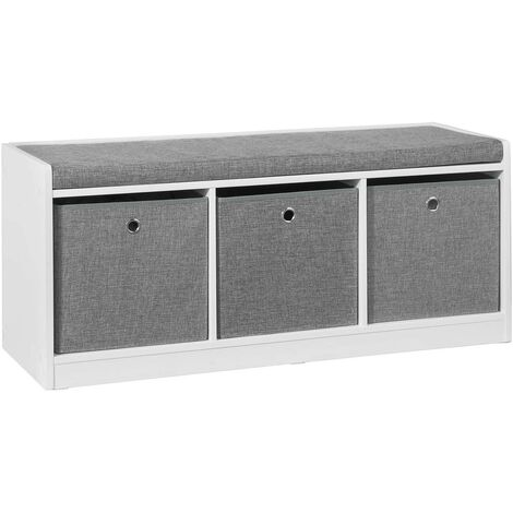 SoBuy Hallway Entrance 3 Baskets Storage Bench With Padded Seat FSR65-DG