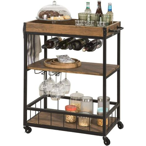 SoBuy Modern Design 3 Tiers Kitchen Trolley Serving Trolley with Wine Rack Metal & MDF,FKW56-HG
