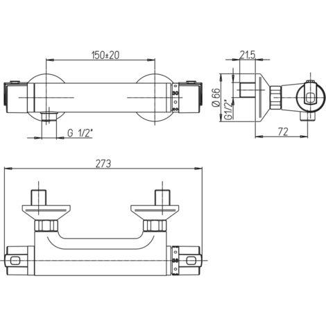 Miscelatore termostatico doccia esterno Paini Arena 92CR511TH   Cromo - Senza set doccia