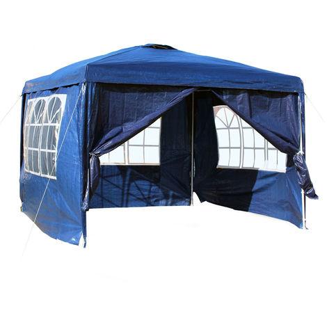 Carpa de jardín con elementos laterales desmontables 3x3m Azul Con ventanas Cenador para exterior