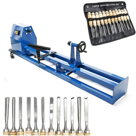 Set torno madera 400W y 12 herramientas para tallar, cuchillas planas y ahuecadas, gubias, formones