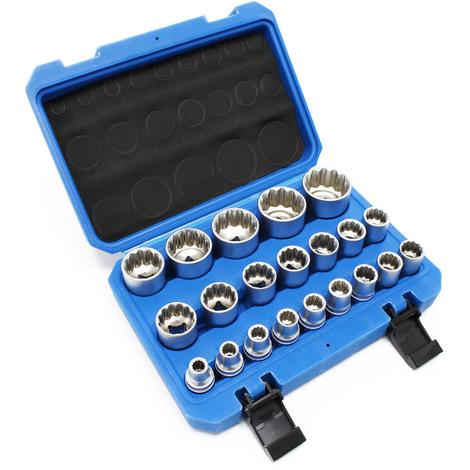 """Juego 21 llaves de vaso estriadas 1/2"""" (12,7mm) 8-36mm carraca llave torsión manual herramientas"""