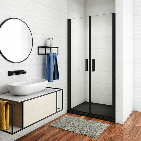 Cabina de ducha de nicho de,dos puertas giratorias, perfiles negros mate,vidrio de seguridad, antical,transparente de 8mm