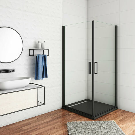Cabina de ducha, Mampara de esquina, puerta abatible, dos puerta giratoria, perfiles negros, vidrio de templado seguridad, antical, transparente de 8mm