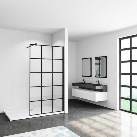 Mamparas de ducha pantalla panel fijo estilo industrial negro con cuadrados cristal antical 8mm con Barra