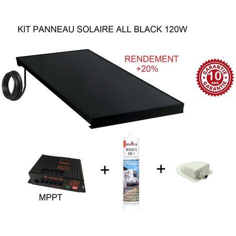 Antarion Kit panneau solaire 120w pour camping car ALL BLACK +20%
