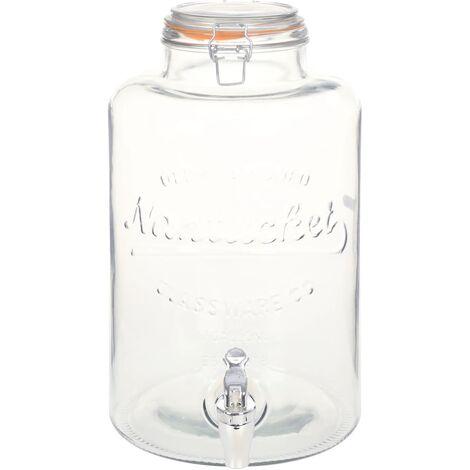 Distributeur d'eau XXL avec robinet Transparent 8 L Verre