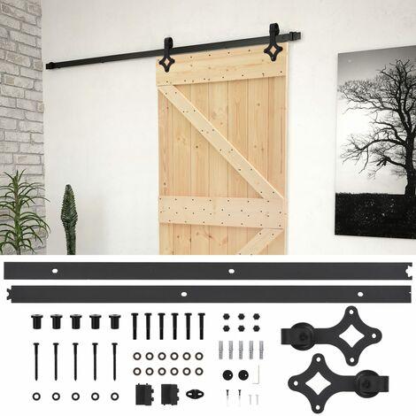 Porte coulissante avec kit de quincaillerie 90x210cm Pin massif