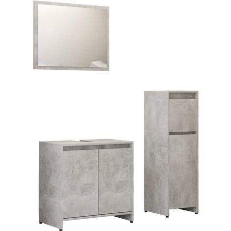 Ensemble de meubles de bain 3 pcs Gris béton Aggloméré