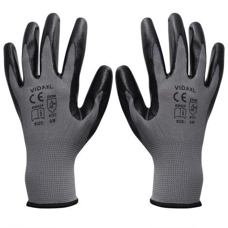 Gants de travail Nitrile 24 paires Gris et noir Taille 9/L