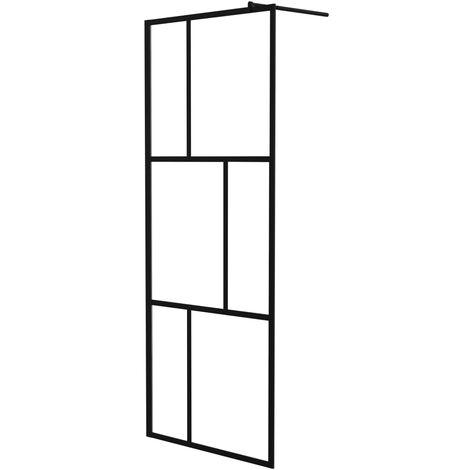 Paroi de douche à l'italienne avec verre trempé Noir 80x195 cm