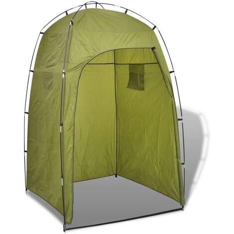 vidaXL Tente de Douche WC Dressing Toilette Camping Parc Plage Lieux Publics Extérieur avec 2 Compartiments de Rangement Bleu/Vert