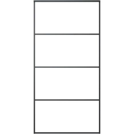 Porte coulissante Aluminium et verre ESG 102,5x205 cm Noir