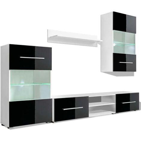 vidaXL Meuble TV Mural avec Eclairage LED 5 pcs Armoires de Télévision Meuble de Salon Salle de Séjour Maison Intérieur Blanc/Noir