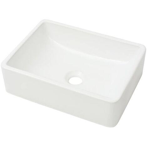 Lavabo Céramique Lave-Mains Vasque Evier pour Salle de Bain Toilette