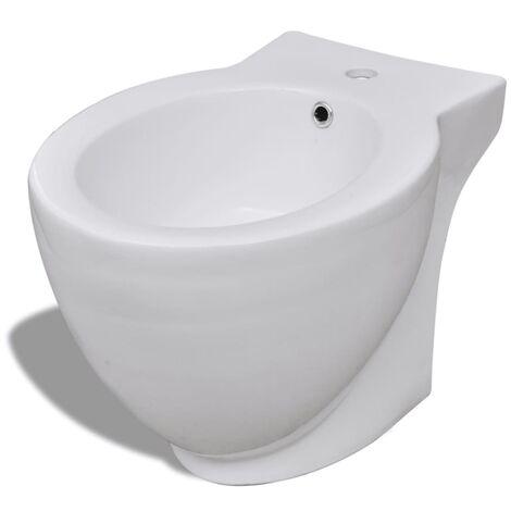 vidaXL Bidet Rond à Poser en Céramique Sanitaire Bati-supports Toilette Cuvette Siège WC Salle de Bain Maison Intérieur Multi-modèle Blanc/Noir