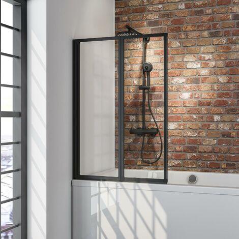 Pare-baignoire rabattable, sans percer, paroi de baignoire Schulte, écran de baignoire pivotant à coller, profilé noir, verre 3 mm transparent, 2 volets, 87 x 120 cm