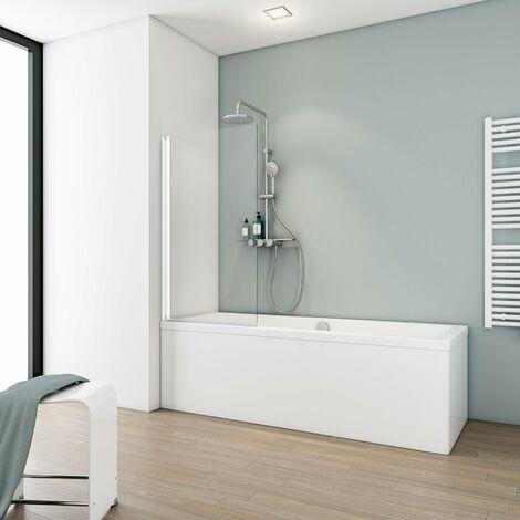 Pare-baignoire rabattable, 70 x 130 cm, verre 5 mm, paroi de baignoire 1 volet Capri, écran de baignoire pivotant Schulte, couleur du profilé aux choix