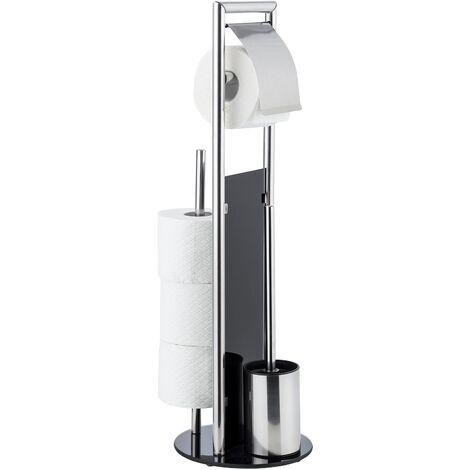 WENKO Serviteur WC Ravina 3en1, brosse WC et dérouleur papier toilette, range papier toilette, Noir et acier inox