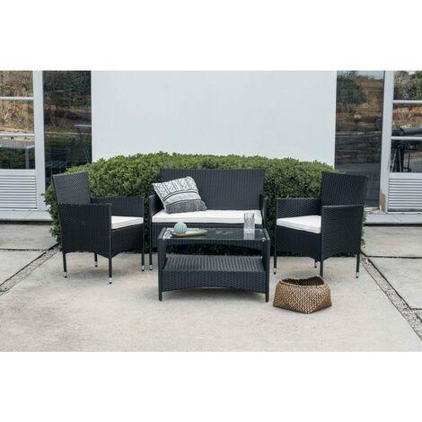 KieferGarden – Conjunto Set Muebles Jardín y Terraza, 4 plazas, Negro, Ratán Sintético, Sofá (105x56x88), Sillones (60x56x84), Mesa (81x48x25)