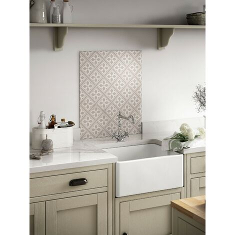 Laura Ashley Mr Jones Dove Grey Glass Kitchen Splashbacks - different dimensions available