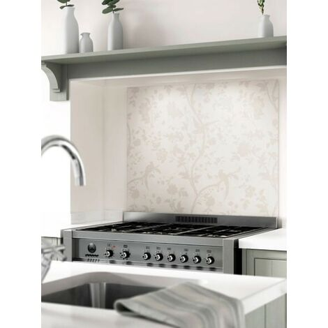 Laura Ashley Oriental Garden Pale Biscuit Glass Kitchen Splashbacks - different dimensions available