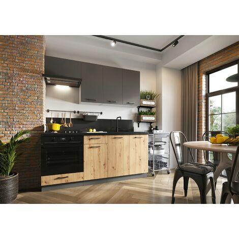 Meubles Cuisine complète CLARA gris chêne mat - 1m80 - 5 meubles - MOINSCHERCUISINE - GRIS ET CHENE