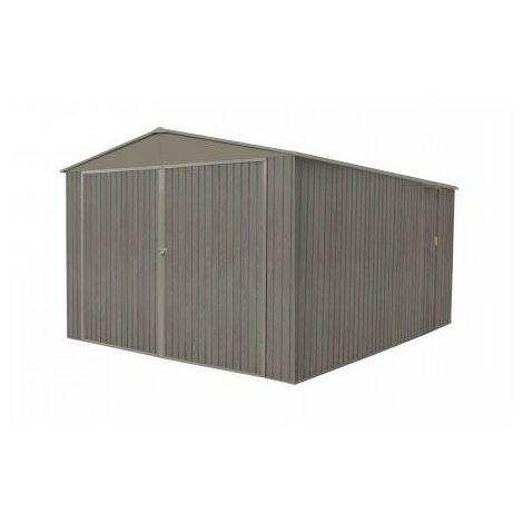 Garage en métal aspect BOIS VIEILLI® - 18,24 m² - Bois vieilli