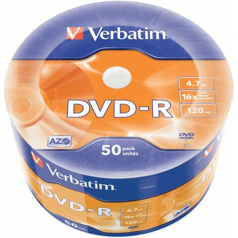 Verbatim Lot de 50 DVD-R couleur argent mat - 4,7 Go - DVD-R - 50 pièce(s) - Argent mat - 16x - Fuseau (43788)