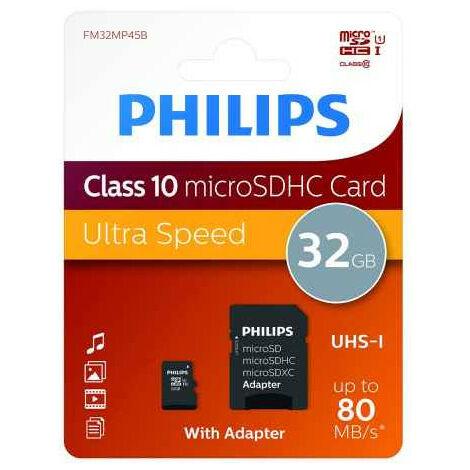 Philips FM32MP45B/00 - 32 Go - MicroSDXC - Classe 10 - UHS-I - 80 Mo/s - Class 1 (U1) (FM32MP45B/00)