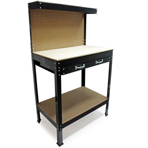 Établi d'atelier 1200x550x1500mm Table Plan de travail Paroi perforée Étagère Tiroir de rangement