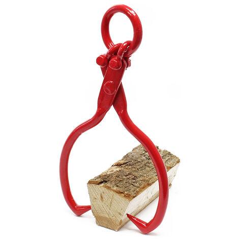 Griffe à bois pour Tronc Grume Acier max. Ø30,5cm Traction 680kg 2 Mandrins de serrage Grappin Pince