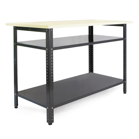 Établi atelier 120x60x85cm Plan travail Table emballage Rangement outils Garage Bricolage Cave