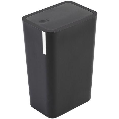 Pattumiera 8 litri Nera in Plastica Con Coperchio Push Moderna