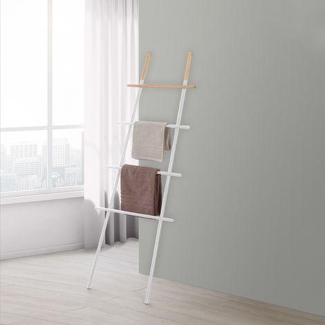 Scala Porta Asciugamani Moderna in Acciaio Bianco con Inserti in Legno H 170 cm