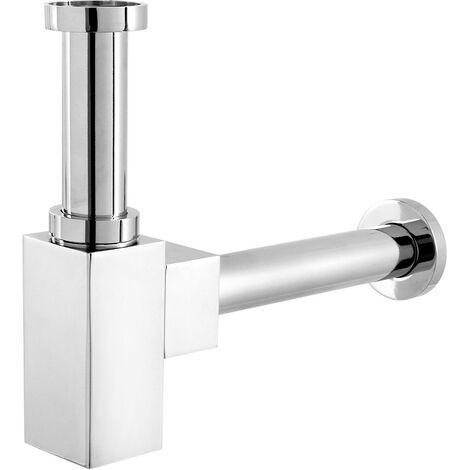 Sifone di scarico quadrato ottone cromato universale regolazione 130/300 mm