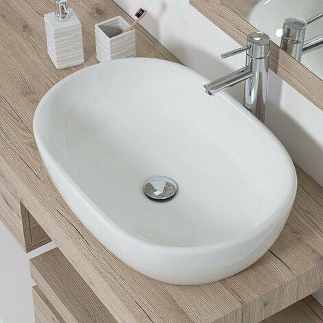 Lavabo da Appoggio in Ceramica L. 61,5 x 42,5 cm Bianco Lucido
