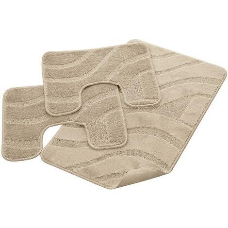 Parure Bagno 100% Polipropilene con Antiscivolo Onda Beige 50x80, 50x40, 50x40