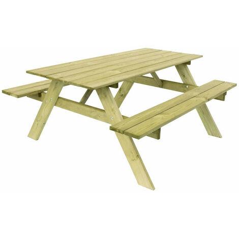 Gardiun Table Pique-Nique Bois Naturel Traité Essential 165 cm x 154 cm x 75 cm 20/25 Mm 6-8 Personnes