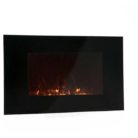 Kekai Cheminée Électrique Poêle Murale 2000 W Dakota 90 cm x 15 cm x 56 cm Illusion Flamme Thermostat Noir