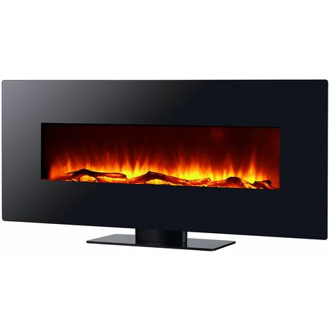 Cheminée Électrique Poêle à Poser/Murale 2000 W Kekai Kentucky 128x26x61 cm Illusion Flamme Thermostat Noir
