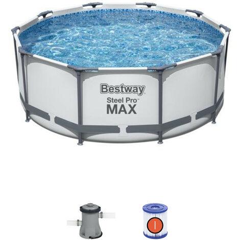 Piscine Hors-sol Tubulaire Bestway Steel Pro Max 305x100 cm Épurateur à Cartouche 1.249 L/H Échelle