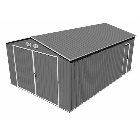 Gardiun Garage Voiture Métallique Oxford (Gris)- 20,5 M² Extérieur 540 cm x 380 cm x 232 cm