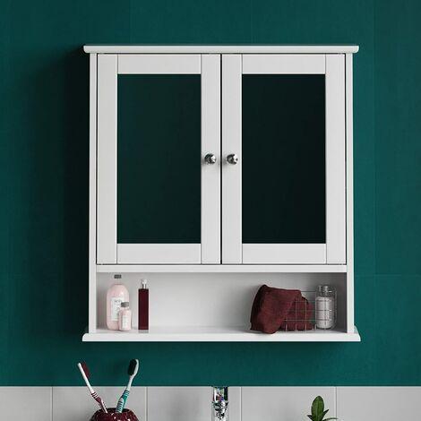 Armoire de Toilettes Salle de Bains Blanche Murale avec Portes et Miroirs