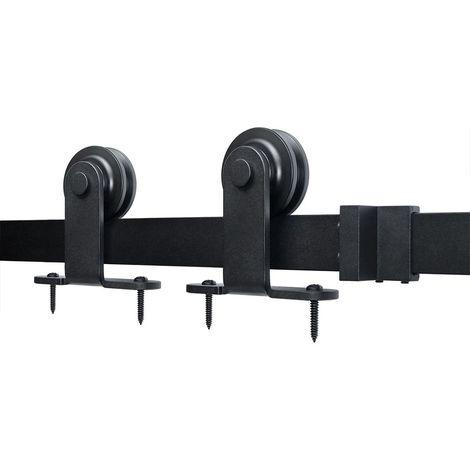 200CM - Crochet en Forme de T - Système De Porte Kit de Rail pour Porte Coulissante en Acier Noir