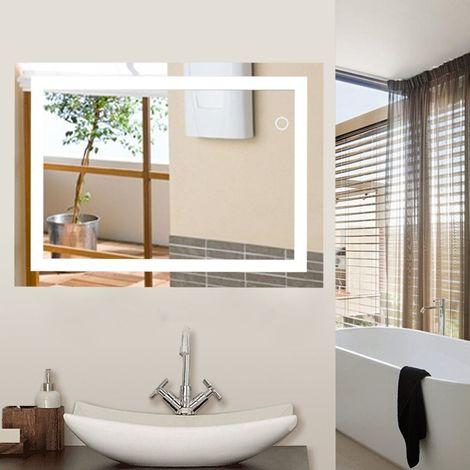 Miroir Mural avec Éclairage LED Interrupteur Tactile Miroir Lumineux pour Salle de Bain