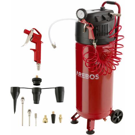 AREBOS Druckluft Kompressor Luftkompressor 50L 10 Bar stehend 13-tlg Zubehör Rot - Rot